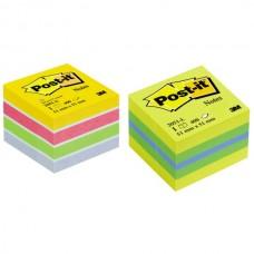 Lipnūs lapeliai POST-IT, 51 x 51 mm, 400 lapelių, įvairių spalvų