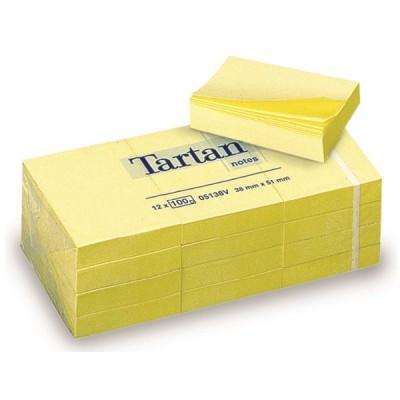Lipnūs lapeliai TARTAN, 38 x 51 mm, 100 lapelių, gelsvi (12 vnt./pak.)