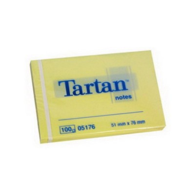 Lipnūs lapeliai TARTAN, 51 x 76 mm, 100 lapelių, gelsvi