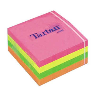 Lipnūs lapeliai TARTAN, kubas 76 x 76 mm, 400 lapelių, įvairios spalvos