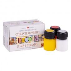 Akrilinių dažų rinkinys stiklui ir keramikai DECOLA 6 spalvos po 20ml