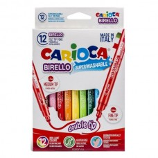 Flomasteriai Carioca Birello dvipusiai, 12 spalvų