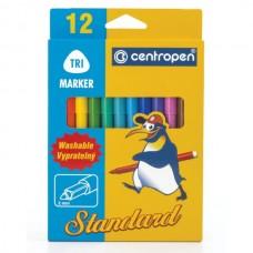 Flomasteriai Centropen Standard Tri nuplaunami, 12 spalvų