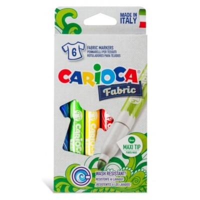 Flomasteriai piešimui ant audinių CARIOCA, 6 spalvų