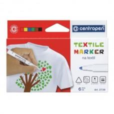 Žymeklių rinkinys tekstilei 2739 Centropen, 6 spalvų