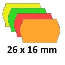 Lipnios etiketės markiratoriams 26 x 16 mm spalvotos (rulone 1000 vnt.)