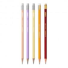 Grafitinis pieštukas Stabilo Swano HB su trintuku, įvairių spalvų korpusas