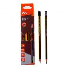 Grafitinis pieštukas tribriaunis DELI 2B, su trintuku